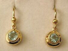 GENUINE  9K 9ct SOLID GOLD MARCH BIRTHSTONE AQUAMARINE DANGLE DROP EARRINGS