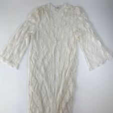 Womens VTG Delta Burke Off-White Ivory Sheer Lace Nightgown See Measurements