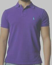 Ralph Lauren Man Polo shirt Short sleeve Custom Slim Fit Purple Small