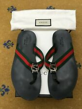 Gucci Mens Sandals Thong Flip Flop Leather Shoes UK 8 US 9 EU 42 Red Green Web