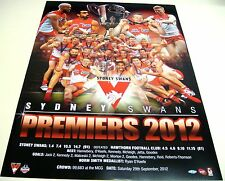 SYDNEY SWANS AFL PREMIERS PRINT UN FRAMED 2012 PREMIERS
