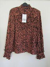 ZARA Pink Black Print Ruffle Blouse  Shirt NEW Size M  ...SOLD OUT