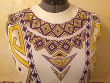 "Vintage 60s Sheath Dress Mod Graphic Size M-L 39"" Bust EC White Purple Yellow"