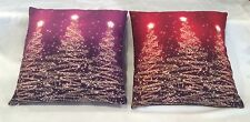 "New Pair Holiday Christmas Pillows Red Purple Cotton 15"" Square Screen Print"
