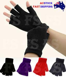 Winter Fingerless Gloves Open Finger Black Soft Warm Knitted Glove Unisex *AUS*