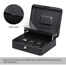 Cash Box With Money Tray Keys Security Lock Box With Removable 5 Compartment Black