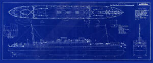 "Cunard White Star Liner MV Britannic 1929 Blueprint Ships Plan 12"" x 29"""