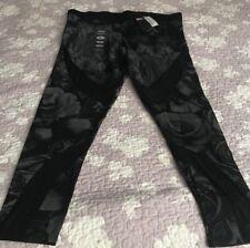 Harley Davidson Black Sheer Strips Leggings Floral Design NWT Women's Size 2XL