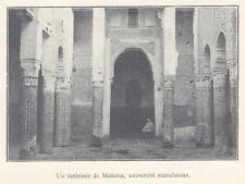 G0818 Maroc - Intérieur de Médersa, université musulmane - 1923 old print