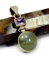 Natural Prehnite / Amethyst Gemstone & 925 Sterling Silver Pendant X16