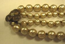 MARKED MIRIAM HASKELL FAUX PEARL 8 INCH DROP 2 STRAND NECKLACE