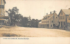 Stockton Springs ME Street View Storefronts Horse & Wagons Message RPPC Postcard