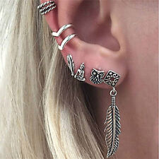 6X Earrings Set Women Fashion Bohemian Retro Owl Feather Buddha Leaf Jewelry