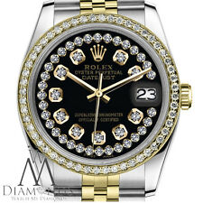 Rolex 2 Tone 26mm Datejust Black Face 18K & SS String Diamond Accent Jubilee