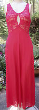 DANSKIN Long RED LACE & Nylon Full Skirt Sexy Nightgown! Med