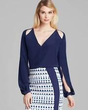 Rachel Roy Navy Blue Split Sleeve Cut Out Silk L/S Blouse Top $278 NWT S