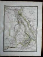 Africa w/ huge Mts. of Moon Hejaz Arabia Mecca Medina 1829 Lapie large folio map