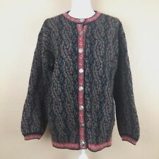 Icelandic Design Womens M/L Sweater Jacket Button Front 100% Wool Nordic Warm