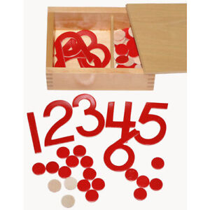 MONTESSORI Materials Equipment Cut-Out NUMERALS & COUNTERS MATHS Wooden Box