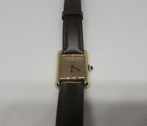 Vintage Must de CARTIER PARIS 925 Argent Plaque Ladies Watch Tricolor Dial