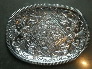 LARGE HEAVILY CHASED SILVER ALLOY TRAY WITH DOLPHINS AND GARGOYLES #2
