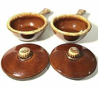 HULL POTTERY COVERED BOWLS BROWN DRIP GLAZE WITH HANDLES SET OF 2 OVEN PROOF