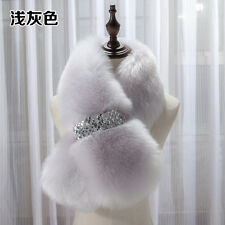 Elegant Women Lady Faux Fur Collar Scarf Warp Shawl Neck Warm Cape light Grey