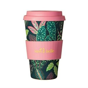 'Variegated Leaves' Reusable Bamboo Coffee Cup, Blue & Green Leaf Travel Mug
