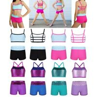 Kid Girls Ballet Dancing Crop Top+Bottoms Set Fitness Gym Outfit Workout Clothes