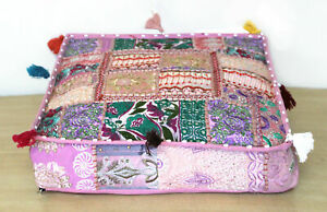 """Indian square 35"""" Vintage Baby Pink cotton Patchwork Floor Cushion puff cover"""