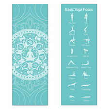 Teal Printed Design Yoga Mat with Poses Printed on One Side Lightweight