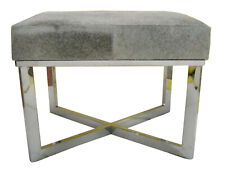 Indian Grey Hairy Leather with Stainless Steel Cross Base Stylish London Bench