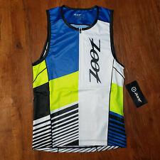 ZOOT Mens M LTD Tri Tank Triathlon Top Compression Shirt Blue Green White Medium