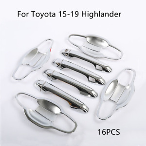 For Toyota 15-19 Highlander Chrome Silver Smart Door Handle Covers+Bowl Trims