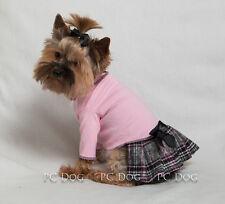 L Baby Pink Plaid Turtleneck T Shirt Dog Dress clothes pet Large PC Dog®