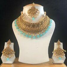 BLUE GOLD INDIAN MUGHAL KUNDAN JEWELLERY NECKLACE EARRINGS CRYSTAL SET NEW 334