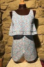 LADIES  SHORTS AND TOP TWIN SET BEACH COVER UP IBIZA SIZE 10 COTTON FLORAL