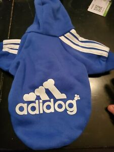 Adidog Pet Clothes for Dogs Hoodie-  Blue Size M