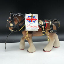 PORCELAIN HORSE FIGURINE LONDON leather saddle reigns gold chain statue england