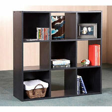 9 Cube Organizer Bookcase Storage Tower Shelves Black Kids or Living Room Case