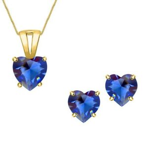 Heart Blue Sapphire Solitaire Necklace PendantJewelry Set 14k Yellow Gold Over