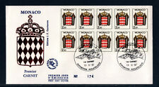 MONACO   enveloppe 1er jour   armoiries  le carnet  1987
