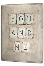 Tin Sign XXL Fun YOU AND ME letter cards