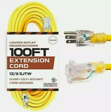 100 Foot Lighted Outdoor Extension Cord - 12/3 SJTW Heavy Duty Yellow