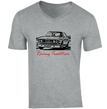 BMW E9 INSPIRED RACING TRADITION P - NEW COTTON GREY V-NECK TSHIRT