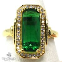 Unique 3CT Emerald Ring Women Engagement Jewelry Size 6 to 9 14K Yellow Gold