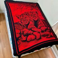 San Marcos Reversible Lioness Lion Cub Jungle Twin Blanket 84x62 Red Black