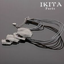 Luxury Statement Leather Necklace IKITA Paris Enamel Silver Plated