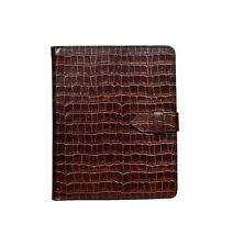 NEW iPAD 2, 3 & 4 COVER BROWN CROC PRINT LEATHER LUXURY SMART SCREEN CASE STAND