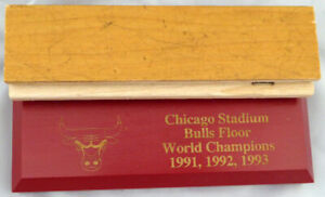 CHICAGO BULLS GAME USED 1.5X6 BLONDE HARDWOOD FLOOR PIECE MICHAEL JORDAN 123770